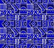 模式无缝的向量 与手拉的装饰部族元素的几何背景在葡萄酒褐色颜色 免版税图库摄影