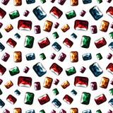 模式无缝的向量 与特写镜头五颜六色的宝石的明亮的混乱背景在白色背景 库存例证