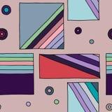 模式无缝的向量 与长方形,正方形,小点,对角线的几何手拉的背景 装饰的印刷品 皇族释放例证
