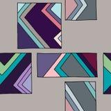 模式无缝的向量 与长方形,正方形,线的蓝色几何手拉的背景 背景的,墙纸印刷品, 向量例证