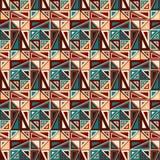 模式无缝的向量 包括几何元素 元素有一种三角形状和不同的颜色 免版税库存照片