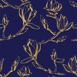 模式无缝的向量 木兰花的枝杈的装饰品 图库摄影