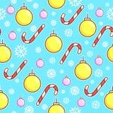 模式无缝的向量 棒棒糖和xmas玩具球 圣诞节包装纸设计 空白蓝色的雪花 库存照片