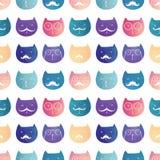 模式无缝的向量 猫 免版税库存图片