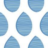 模式无缝的向量 蓝色抽象水滴下与在白色背景的手拉的线 织品装饰品纺织品例证 库存图片