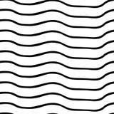 模式无缝的向量 黑白水平的不规则的波浪的线 光学的幻觉 为背景完善 库存例证