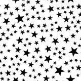 模式无缝的星形 夜、空间或者圣诞节题材 在黑白的平的传染媒介背景 皇族释放例证