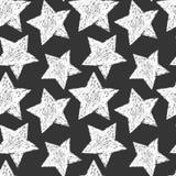 模式无缝的星形 黑白印刷品 免版税库存图片