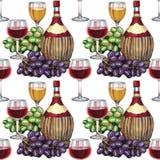 模式无缝的酒 与酒瓶的手拉的样式 库存例证