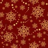 模式无缝的雪花星形冬天 库存照片