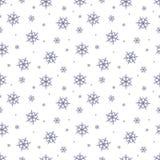 模式无缝的雪花 冬天与降雪的季节背景 圣诞节和新年假日印刷品 库存图片
