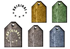 模式标签木头 库存例证