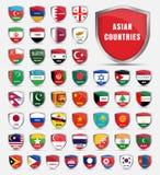 模板上与亚洲人国家的旗子  免版税图库摄影