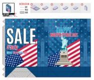 模板为印刷品美国的独立日 库存例证
