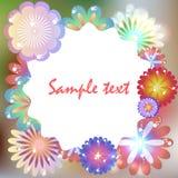模板为生日,邀请,与多彩多姿的fl的明信片 库存图片