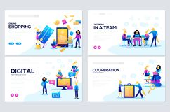 模板为网络购物、逻辑分析方法、数字行销、配合和经营战略设计 库存例证