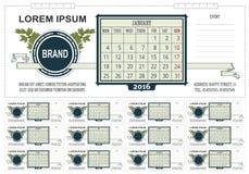 模板企业与空间的桌面日历笔记的 2016年 在星期一,星期起始时间 库存图片