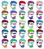 模板印刷不同的颜色的人的面孔 光栅 库存照片