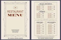 模板咖啡馆或餐馆菜单 库存例证