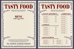 模板咖啡馆或餐馆菜单 皇族释放例证