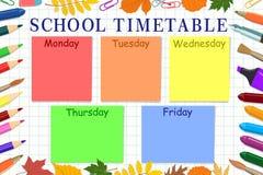 模板学生或学生的学校时间表 也corel凹道例证向量 免版税库存照片