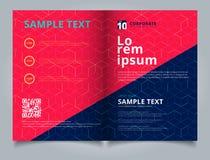 模板小册子布局设计摘要在深蓝背景的立方体样式 数字式几何线方形的滤网 您能使用 库存例证