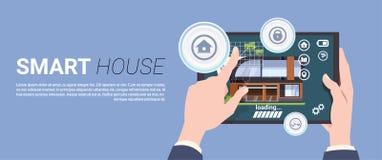 模板横幅现代聪明的家庭技术概念、控制安全录象系统和自动化 库存例证