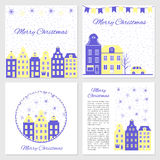 模板的汇集圣诞节和新年的贺卡,传染媒介例证,蓝色和白色颜色,设计为 库存图片