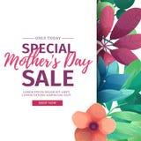 模板设计折扣横幅为愉快的母亲` s天 特别母亲` s天销售的方形的海报与花 向量例证