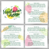 模板设计菜单,小册子,飞行物素食主义者菜单 商标,象素食主义者,与绿色的装饰的健康菜单 免版税库存图片