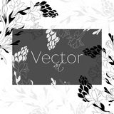 模板设计,导航花卉艺术,黑白 库存图片