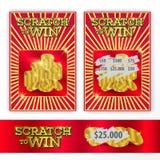 模板赢取的抓痕票 金币例证 向量例证