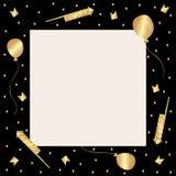 模板 与金黄五彩纸屑、爆竹、气球和旗子的黑框架 库存例证