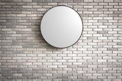 模板-圈子在深红砖墙上的Lightbox商标 图库摄影