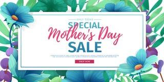 模板designt折扣横幅为愉快的母亲` s天 特别母亲` s天销售的水平的海报与花 向量例证