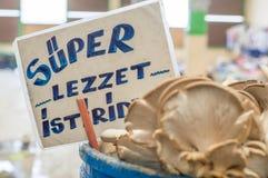 模糊的新鲜的蚝蘑用超级口味牡蛎在柜台标记后边在一个典型的蔬菜水果商义卖市场在土耳其 图库摄影