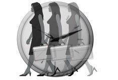 模糊的时钟办公室妇女 免版税库存图片