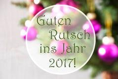 模糊的球,蔷薇石英, Guten Rutsch 2017手段新年 免版税库存图片