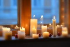 模糊的蜡烛光 库存图片
