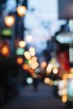 模糊的街道在大阪,日本 库存照片