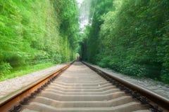 模糊隧道的铁路- 免版税库存照片