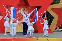 模范编舞合奏Edelweiss在Pyatigorsk,俄罗斯 胜利天游行 图库摄影