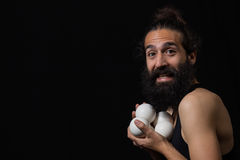 模仿与他玩杂耍的球的愉快的马戏变戏法者 免版税库存照片