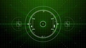 模仿在接口或自动驾驶操纵屏幕上的雷达目标锁有标度背景 皇族释放例证