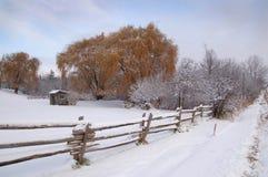 横向农村冬天 免版税图库摄影