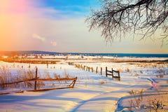 横向农村冬天 库存图片