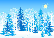 横向向量冬天 免版税图库摄影