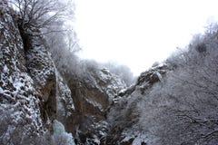 横向多山冬天 图库摄影