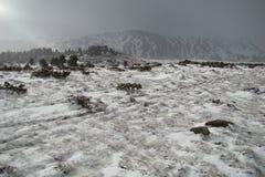 横向多雪的比利牛斯 免版税库存照片