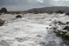 横向多雪的比利牛斯 库存照片